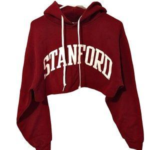 Vintage Stanford Burgundy Distressed Crop Hoodie